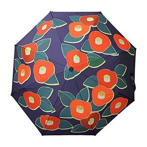 和柄テキスタイル三つ折り畳み傘-TSUBAKI 紺青(つばき こんじょう),折りたたみ傘 ,レディース,