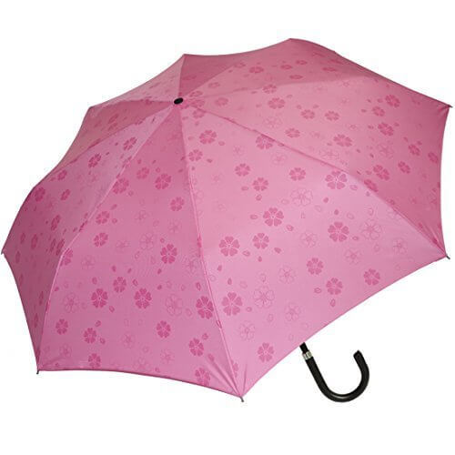 京都花舞妓 浮き桜 「雨に濡れると桜柄が浮き出る」 三段式 折りたたみ傘 ピンク,折りたたみ傘 ,レディース,