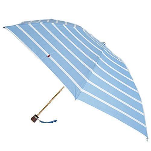 ラルフローレン 折りたたみ傘 トラッド ホワイト/ライトブルー シックストライプ ウッドハンドル,折りたたみ傘 ,レディース,