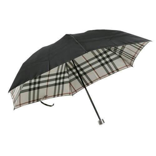 【BURBERRY】バーバリー 日本製 裏地ノバチェック婦人折りたたみ傘(雨傘) 黒×ベージュ,折りたたみ傘 ,レディース,