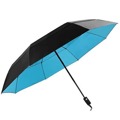KOLER 折り畳み傘 風防 ワンタッチ自動開閉 大型 晴雨兼用 2重構造 軽量 118cm 耐強風 大きい自動傘 収納ケース付 ( ブラック / ブルー ),折りたたみ傘 ,レディース,