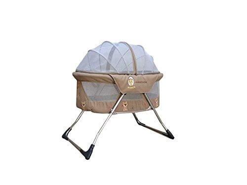 (ヘラサ)Herasa ベビーベッド 折りたたみ ミニベッド 旅行ベッド オシャレ ポータブル 収納袋付き コンパクト 軽量 通気性良い「適用月齢:0~6ヶ月」 (ベージュ),コンパクトベッド,