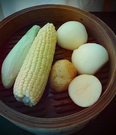 せいろ蒸しした野菜,離乳食,だし,おかゆ
