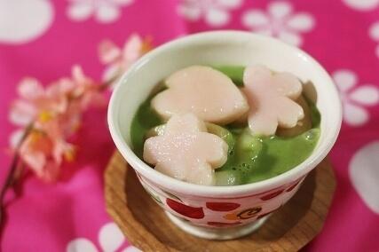 桜白玉の抹茶スイーツ,お花見,レシピ,