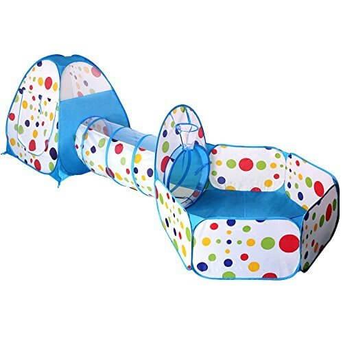 (イークスン) EocuSun 子供用テント セット 折り畳み式 トンネル バスケットネット 収納バッグ付き 改良版 秘密基地 お誕生日 出産祝いのプレゼント (水色),赤ちゃん,おもちゃ,