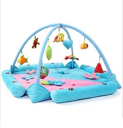 サンフラワー(SUNFLOWER) ベビージム・プレイマット 赤ちゃんのおもちゃ インテリア・デコレーション ベビー&マタニティ 大きいサイズ 男女兼用 デラックスジム 9個おもちゃが付き ブルー,赤ちゃん,おもちゃ,
