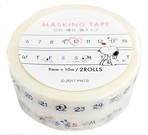 デルフィーノ マスキングテープ 日付・曜日横タイプ PEANUTS スヌーピー P-12936,手作り,手帳,