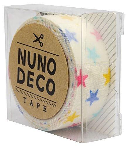 KAWAGUCHI(カワグチ) NUNO DECO TAPE ヌノデコテープ 1.5cm幅 1.2m巻 しろいカラフルスター 11-860,幼稚園,デコ,ヌノデコ