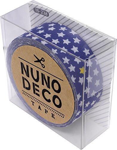 KAWAGUCHI(カワグチ) NUNO DECO TAPE ヌノデコテープ 1.5cm幅 1.2m巻 ちいさなスターあお 15-238,幼稚園,デコ,ヌノデコ