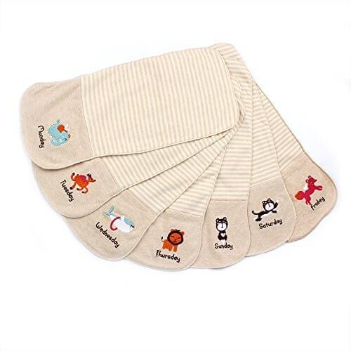 (Dunbili)オーガニックコットン 汗取りパット 7枚セット綿100%(無添加ガーゼ) ( 0-3歳 ),汗取り,パッド,赤ちゃん
