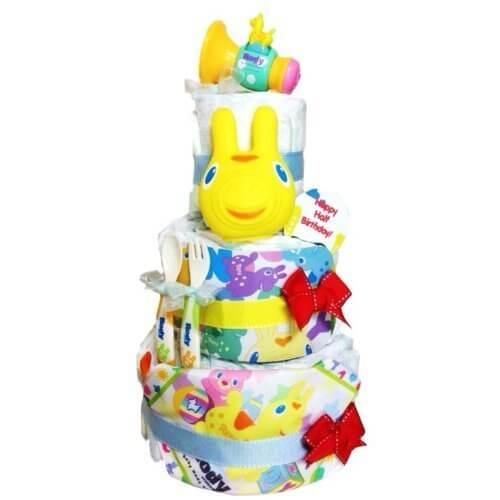 人気No.1 ロディおもちゃ4点も付いた おむつケーキ 出産祝い・ハーフバースデー対応 きいろ (出産祝い用S),100均,出産祝い,おむつケーキ