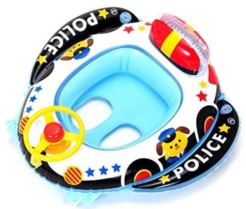 ヒオキ パトカー ベビーボート ハンドル付,赤ちゃん,浮き輪,