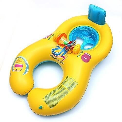 赤ちゃんも安心!タンデムリング ボート 親子うきわ 2人用 (イエロー),赤ちゃん,浮き輪,