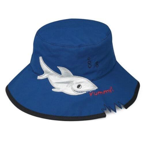 UVカット帽子 - キッズ ハット (シャーク/ブルー55cm) 紫外線カット率最高値UPF50+,UVカット,帽子,
