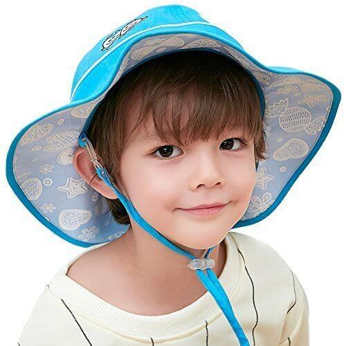 (シッギ)Siggi コットン100% 柔かい 取り外すあご紐 折りたたみ つば広 可愛い バケットハット 日よけ帽子 シェードハット ボーイズ ガールズ ハット 帽子 春夏 uv アウトドア 旅行 自転車 52㎝ 53㎝ 54㎝ ブルー,UVカット,帽子,