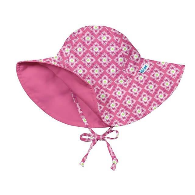 iplay アイプレイ リバーシブルハット UPF50+ UVカット 紫外線防止 あご紐付 ベビー キッズ 帽子 女の子 (INFANT:6-18ヶ月/46-48cm つばの長さ8cm, AquaDaisy),UVカット,帽子,
