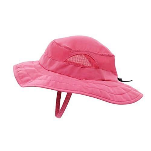 (コネクタイル)Connectyle キッズ UPF 50+ サファリハット 紫外線 UVカット ハット 子供 サンバイザー 通園 通学 帽子 (ローズレッド),UVカット,帽子,