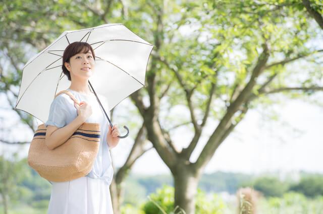 日傘をさす女性,UVカット,日傘,