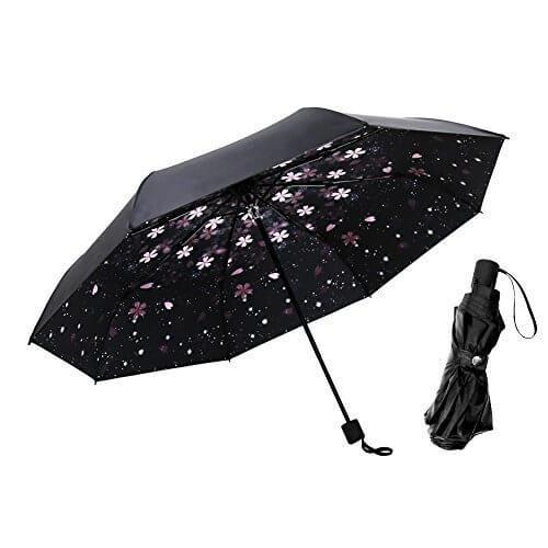 【 日傘 晴雨兼用 】 A-mumu 軽量 折りたたみ傘 レディース 傘 [ 桜柄 UPF50+ UVカット 100 遮光 遮熱 耐風撥水 ] 収納ポーチ付き 折り畳み傘 折りたたみ 花柄 車用傘,UVカット,日傘,