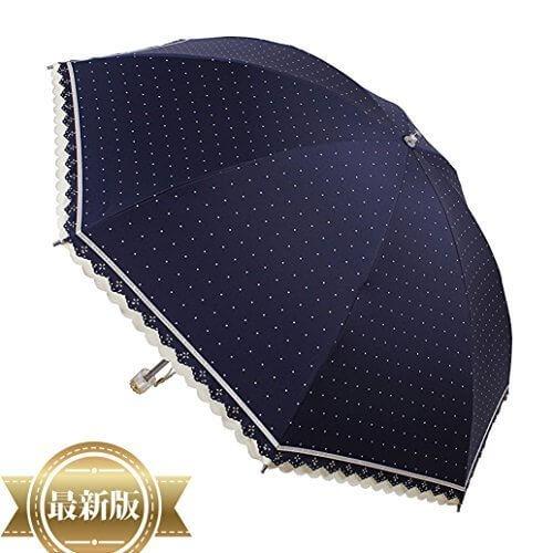 MIGOBI 折り畳み傘 レディース umbrella アンブレラ ドット柄 超軽量 コンパクトサイズ UV 防風 日傘 100遮光 ひんやり レ-ス 超撥水性 風に強い バレンタイン blue green pink,UVカット,日傘,