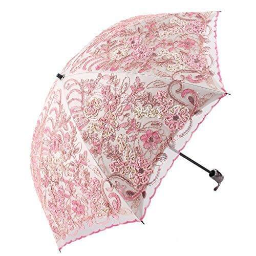 Honeystore 日傘 折りたたみ レース日傘 立体的な花柄 細工刺繍 二重張り UVカット 100 ピンク,UVカット,日傘,
