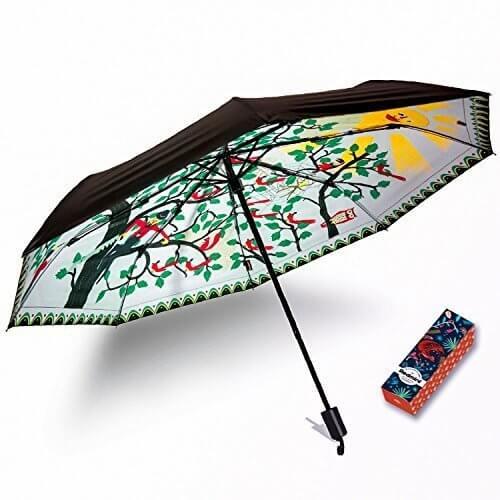 Redmini 日傘 折りたたみ傘 軽量 晴雨兼用 高密度NC布 耐風撥水 収納ポーチ付き オリジナルデザイン賞2年保証 (木),UVカット,日傘,