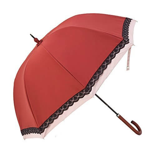 日傘 完全遮光 遮熱 かわず張り 特殊2重張り製法 バイカラー レース 女性用日傘 長日傘 (エンジ×ライトピンク),UVカット,日傘,