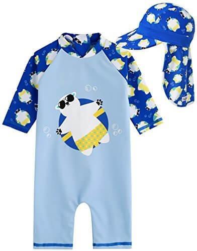 [Vaenait Baby] 0-24ヶ月UVカット ラッシュガードベビー子供男の子長袖ワンピース水着 Baby Tanning Bear Blue S + Flap cap S,ベビー,ラッシュガード,