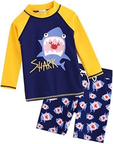 [Vaenait Baby] 2-7歳UVカット ラッシュガードベビー子供男の子長袖上下セット水着 Yellow Shark M,ベビー,ラッシュガード,