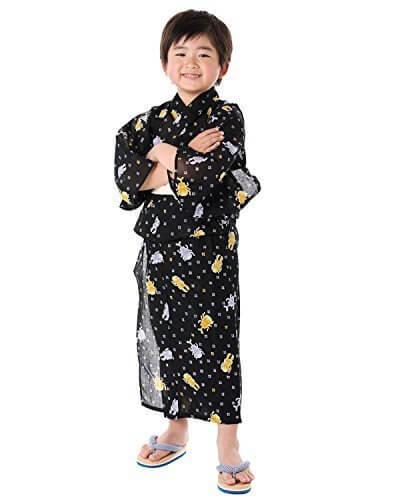 (キョウエツ) KYOETSU ボーイズ浴衣2点セット 紅梅織り bj 金魚/市松とんぼ/かぶとむし/むしむし 110-130cm (浴衣/兵児帯) (130cm, かぶとむし×黒(兵児帯 キナリ)),子供用,甚平,