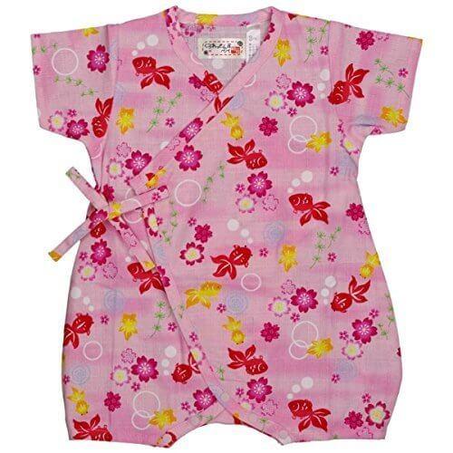 ガールズ|ベビー|甚平[くろわっさんすべべ]ベビー甚平|ロンパース甚平|金魚 桜柄|和柄(日本製生地|ホック使用) 綿100%|新生児 60-70cm ピンク,子供用,甚平,