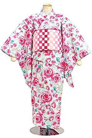 水色バラ浴衣|MezzoPiano(メゾピアノ) ,子供用,甚平,