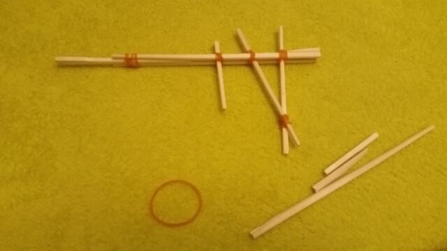 割りばしの配置と輪ゴムの留め方,工作,材料,簡単