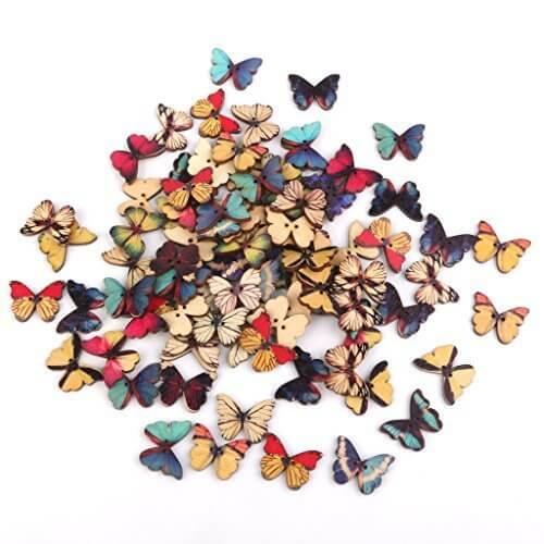 【Phenovo】ビーズ アクセサリーパーツ 縫製 ボタン 手芸材料 工芸品 印刷 蝶のボタン,手作り,フォトフレーム,