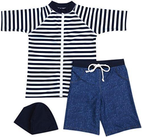 【Babystity】 男の子 水着 UPF50+ ボーダー柄 ラッシュガード 帽子 デニム柄 パンツ 80〜120cm(3点セット 80cm),ラッシュガード,キッズ,