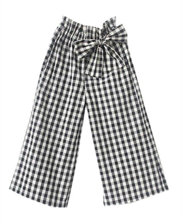 (パイミ)PAIMI 子供服 キッズ 女の子 ガウチョパンツ ワイドパンツ ボトム チェック柄 リボン ウエストゴム 女児 ジュニア,キッズ,ガウチョパンツ,