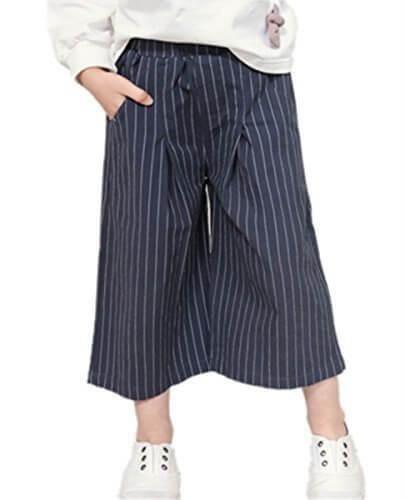(リアルスタイル) Real Style ワイドパンツ ストライプ ガウチョパンツ ボーダー リボン ゆったり 9分丈 キッズ 子供 女の子 子ども服 春 夏,キッズ,ガウチョパンツ,