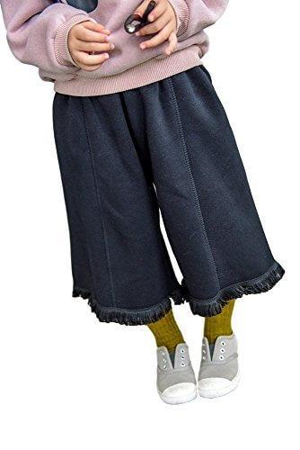 (カエナリエ) Kaenarie 女の子 裏起毛 スウェット ガウチョ パンツ 裾 フリンジ 100 ~ 140 黒 / モカ (130, 黒・ブラック),キッズ,ガウチョパンツ,