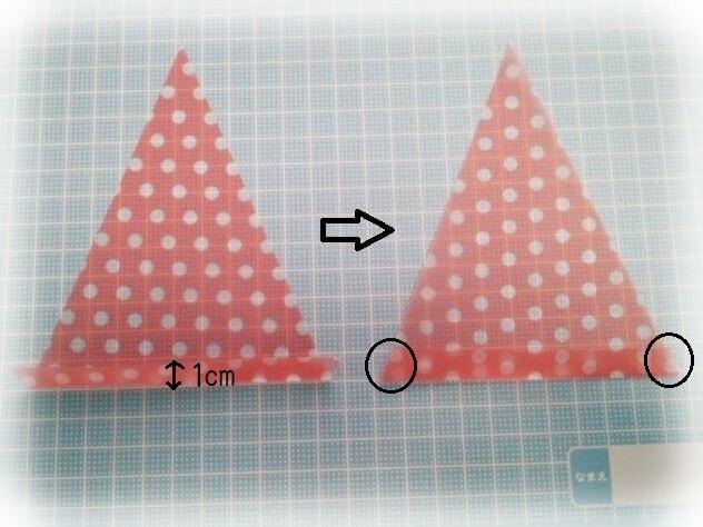 三角形のドットプリントの紙,フラッグガーランド,作り方,ハンドメイド
