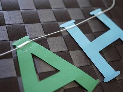 糸付きのアルファベット文字,ガーランド,作り方,