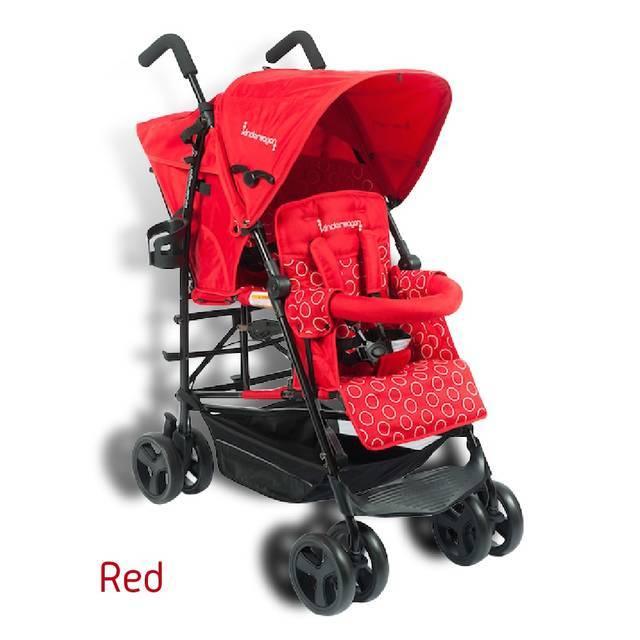 赤いkinder wagon,二人乗り,ベビーカー,