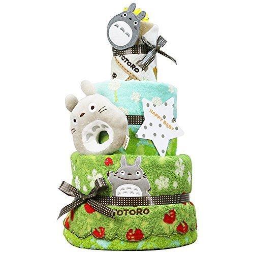 となりのトトロ おむつケーキ 出産祝い 名入れ刺繍 3段 オムツケーキ 男の子 女の子 スタジオジブリ (パンパーステープタイプSサイズ),ベビーシャワー,