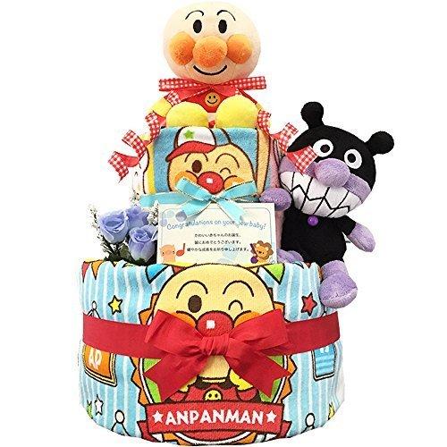 KanonBabys アンパンマンとバイキンマンのおむつケーキ/ダイパーケーキ 2段 (パンパースS20枚 男の子 出産祝い用),ベビーシャワー,