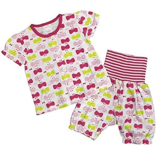 ガールズ|ベビー|パジャマ[enfant pur]腹巻付 半袖ハーフパンツ パジャマ上下セット|ちょうちょ柄|天竺素材 寝間着|女の子|女児 95cm PK-ピンク,子供用,腹巻,