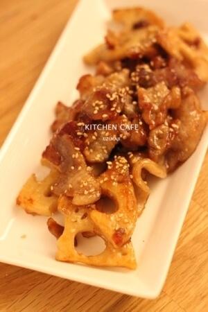 レンコンと豚肉の照り焼き レシピ,お弁当,豚肉,