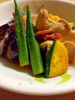 鶏胸肉と夏野菜のマリネ,レシピ,オクラ,