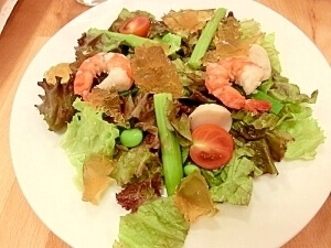 魚介のサラダ ~スターアニス風味のジュレ乗せ,レシピ,オクラ,