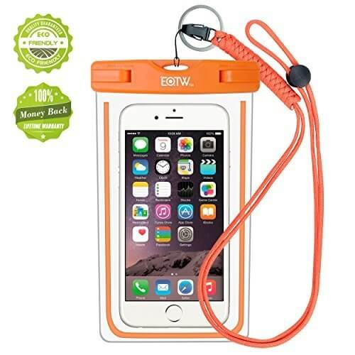 iPhone6/Samsung 防水ケース EOTW® 防水携帯ケース アウトドアダイビング 温泉 釣り お風呂 水泳 砂浜等最適な防水袋 スマホケース・カバー 救助用ネックストラップ付属 防水国際保護等級:IPX8認定獲得 iPhone 6 Plus/ Samsung Galaxy/Nexus/Sonyなど全機種対応 スマートフォン用防水・防塵ケース (オレンジ),海水浴,持ち物,