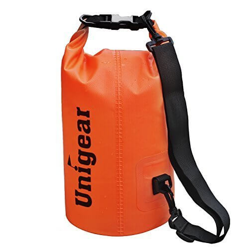 Unigear(ユニジア) ドライバッグ フリー防水ポーチ付 ドラム型 (オレンジ, 5L),海水浴,持ち物,