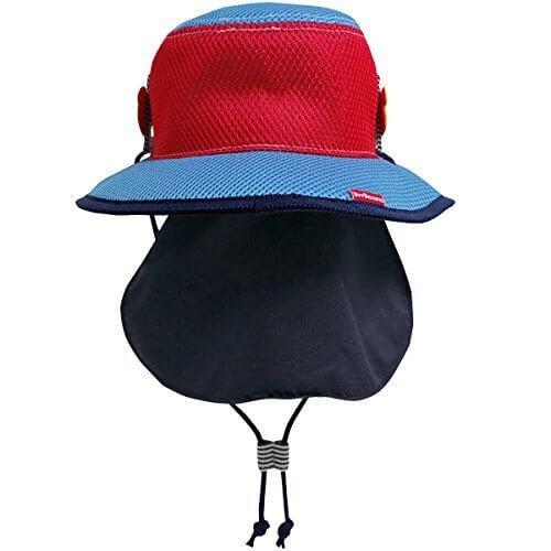 ミキハウス ホットビスケッツ(MIKIHOUSE HOT BISCUITS) 日よけフラップ付き☆ダブルラッセルテンガロンハット(帽子) 52cm ブルー 72-9106-780,グッズ,おでかけ,暑さ対策